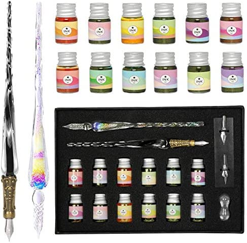 ESSSHOP Glass Dipped Pens Ink Set 17 Pcs Handmade Rainbow Crystal Dip Pen and Calligraphy Artist product image