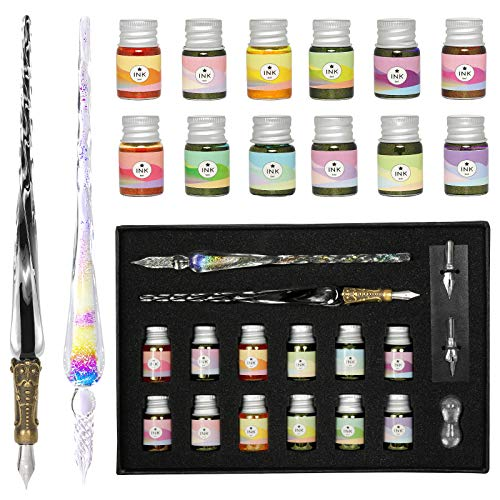 ESSSHOP Glass Dipped Pens Ink Set, 17 Pcs Handmade Rainbow Crystal Dip Pen and Calligraphy Artist Glass Pen with 2 Replace Nibs, 12 Inks for Signatures, Gift Cards Writing, Art, Calligraphy Beginners