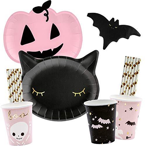 spielum 56-teiliges Party-Set Halloween Kürbis Katze Fledermaus - Teller Becher Servietten Trinkhalme für 12 Personen