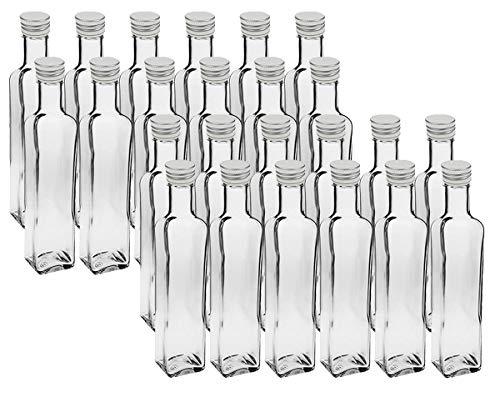 """24 leere Glasflaschen\""""Mara\"""" 500ml incl. Schraubverschluss Silber Saftflasche Likörflaschen Schnapsflaschen Ölflaschen Flaschen Wasserflasche aus Glas zum selbst befüllen"""