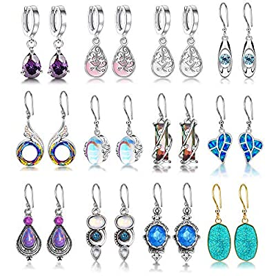 12 Pairs Fashion Crystal Nirvana of Phoenix Opal Tears Drop Earring Oval Quartz Stone Dangle Earrings for Women Healing Chakra Gemstone Earring