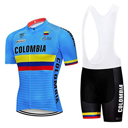 Conjunto Maillot Ciclismo Hombre Manga Corta con Acolchado para Bicicleta de Ropa Enduro MTB + Pantalones Cortos Secado Rápido Ciclismo Ropa Verano