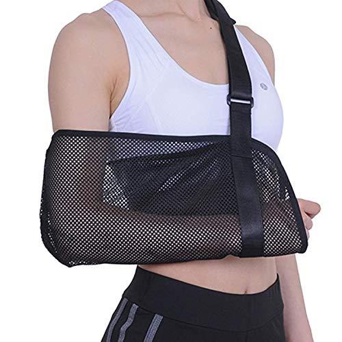 Mesh Adjustable Arm Sling( Left and Right Arm) - Shoulder Immobilizer Medical Support Strap for Broken Fractured Arm Elbow Wrist (Black)