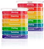 Pillendose 2 x 7 Tage, Pillenbox, Pillenturm, Medikamentenbox, Tablettenbox, Wochendispenser (2er...