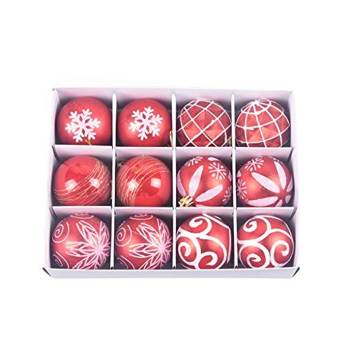 WENHAO Decorazioni per albero di Natale, 60 mm, palline da appendere a casa e feste, 12 pezzi, per decorazioni natalizie, decorazioni da appendere, decorazioni natalizie, festività
