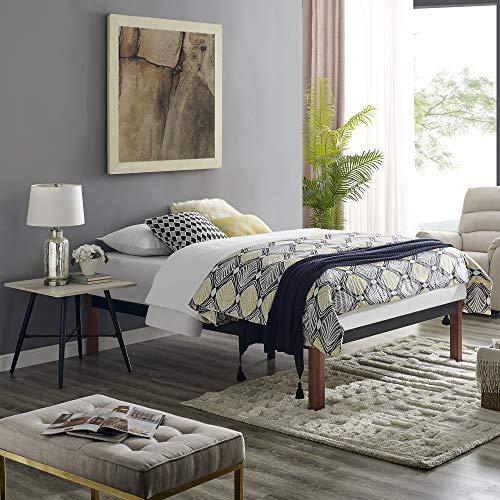Classic Brands DeCoro Devon Wood Slat and Metal Platform Bed Frame   Mattress Foundation, Queen