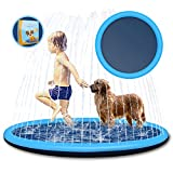"""MTOUOCK Splash Pad for Kids and Pets, 68""""Non-Slip Thickened Sprinkler Mat for Toddlers, Babies and Dog, Fun Summer Outdoor Water Toys for Boys Girls and Pets Dog"""