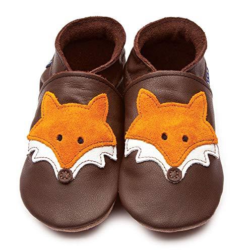 Inch Blue M Renard Chaussures de cuir souple en Chocolat (dans une boîte cadeau) - 0-6m