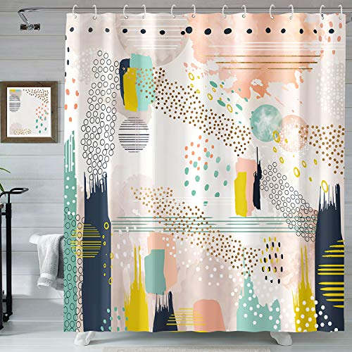 Accnicc Colorful Irregular Geometric Shower Curtain, Color Block Splicing with Randomly Arranged Patterns Shower Curtain Set Bathroom Decor, 72''×72''