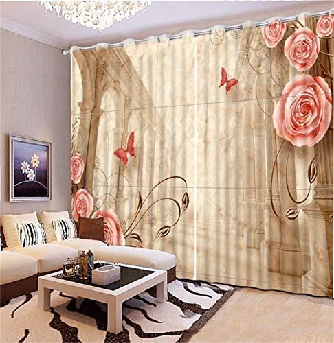 HAOTTP 3D-Vorhänge Verdunkelungsbettfutter Europäische Romantik Schiere Romantische Rosa Rose Fenster Raumvorhänge verlängern H200xB240cm