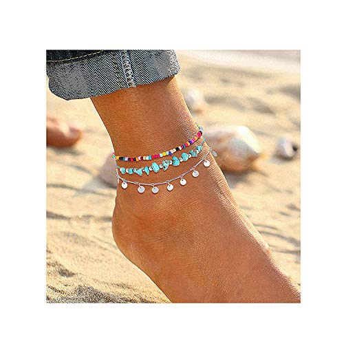 Anklets For Women Girls Color Beads Turquoise Drop Sequin Charm Adjustable Ankle Bracelets Set Boho Multilayer Beach Foot Jewelry (silver)