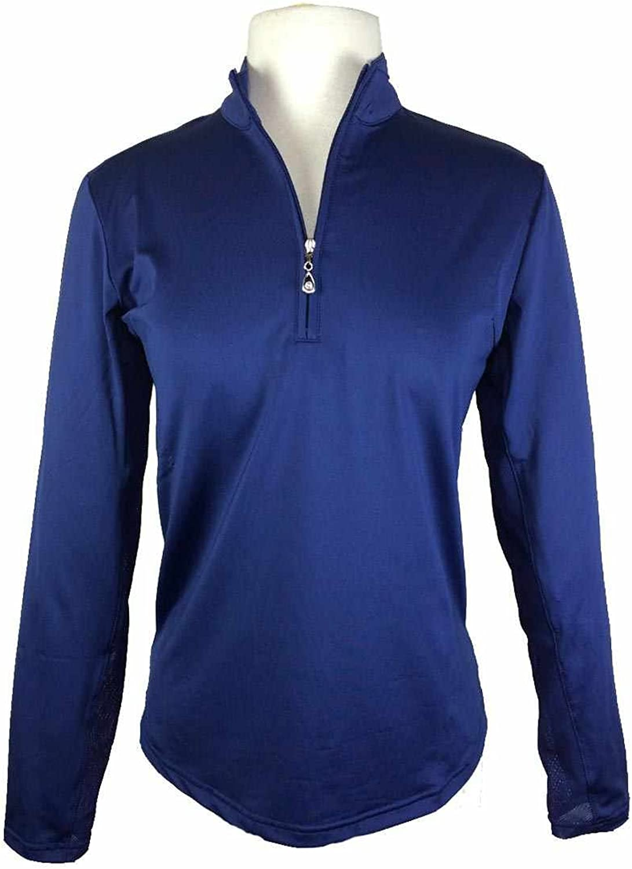 SanSoleil Womens UV 50 Sunglow Long Sleeve Zip Mock Top