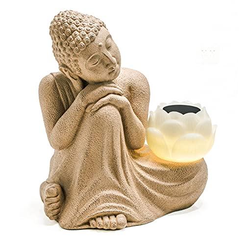PLIENG Estatua De Buda Zen con Luces Solares Adorno De Buda Meditando Grande 61 Cm Lámpara De Loto Decoración De Jardín para Patio De Césped Interior Al Aire Libre,Mudcolor