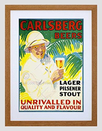 Wee Blue Coo Ad Drink Alcohol Bier Lager Deense Koloniale Uniforme Tropische Kunst Omlijst Muur Art Print