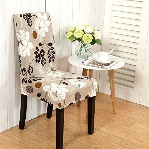 DQWGSS Stuhlbezug Weiße Blumen Stretch Esszimmerstuhlbezüge Hochlehner Stuhlschutzbezug Schonbezug, abnehmbare Schonbezüge aus weichem Spandex für die Küche des Hotelesszimmers (6er Pack)