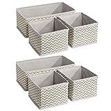 mDesign 6er-Set Stoffbox für Schrank oder Schublade – die ideale Aufbewahrungsbox für Wäsche, Gürtel, Accessoires etc. – flexibel verwendbare Stoffkiste mit Zick-Zack-Muster – beige - 9