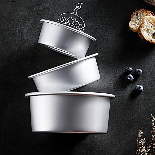 Lawei Round Cake Pan Set - 4' 6' 8' Aluminium Cake Pans with Removable Base Round Cake Baking Pans for Wedding Birthday Party