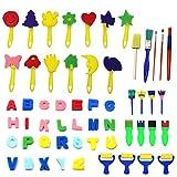 Kids Art & CRAFT kit 56 pezzi pennelli per pittura spugna per bambini da colorare precoce DIY Learning include Pennelli, art Craftssponge spazzola set di pennelli e 26 inglese lettere