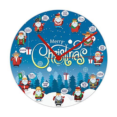 xinxin Wall Clock Santa Claus Greets In Different Language Cartoon Wall Clock New Year Home Decor Merry Christmas Greetings Art Printed Wall Watch
