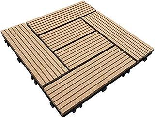 ウッドパネル ウッドタイル ウッドデッキ 人工木 25枚セット (2019年8月22日仕様変更) 樹脂 ベランダタイル ジョイントパネル 木製タイル (タイプC・ナチュラル)