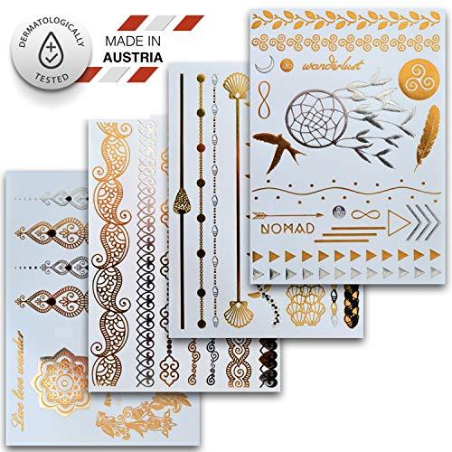 Temporäre Klebe-Tattoos (4er Set mit 46 Motiven)