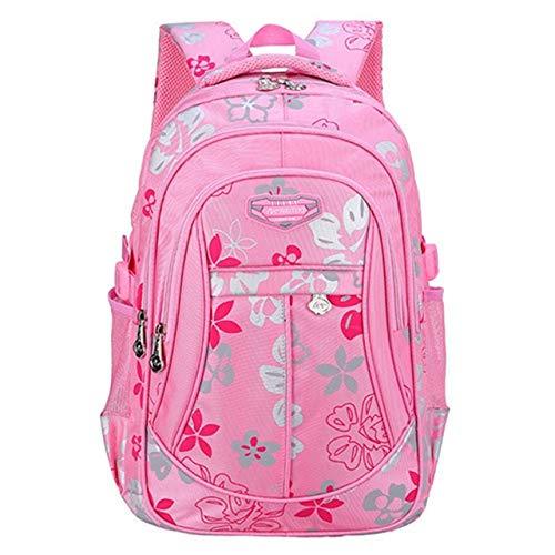 Impresión Floral de Gran Capacidad Mochilas Escolares para Niñas Marca Mujeres Mochila Bolso de Hombro Niños Mochila 30x45x14cm Grande Rosa
