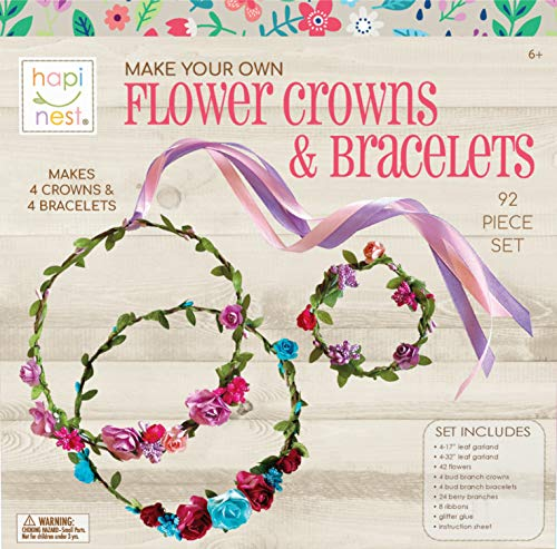 Hapinest Make Your Own Flower Crowns and Bracelets Craft Kit for Girls Gifts Ages 6 7 8 9 10 Years Old and Up