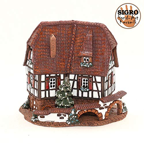 Vogtland Souvenir Keramik Teelichthaus Lichterhaus Teelichthalter Modell Fachwerkhaus 14 cm