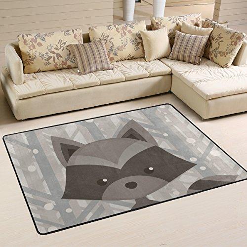 Yibaihe Leichter bedruckter Teppich Fußmatte Cartoon Waschbär Muster für Wohnzimmer Schlafzimmer 90 x 60 cm, Polyester, multi, 183 x 122 cm(6'x 4')