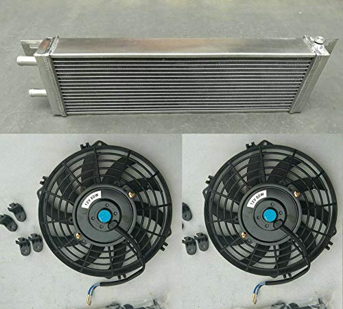 533 x 168 x 56 mm Luft zu Wasser Ladeluftkühler + Lüfter Turbo Aluminium Flüssigwärmetauscher Universal 53,3 x 16,8 x 5,7 cm Frontmontage
