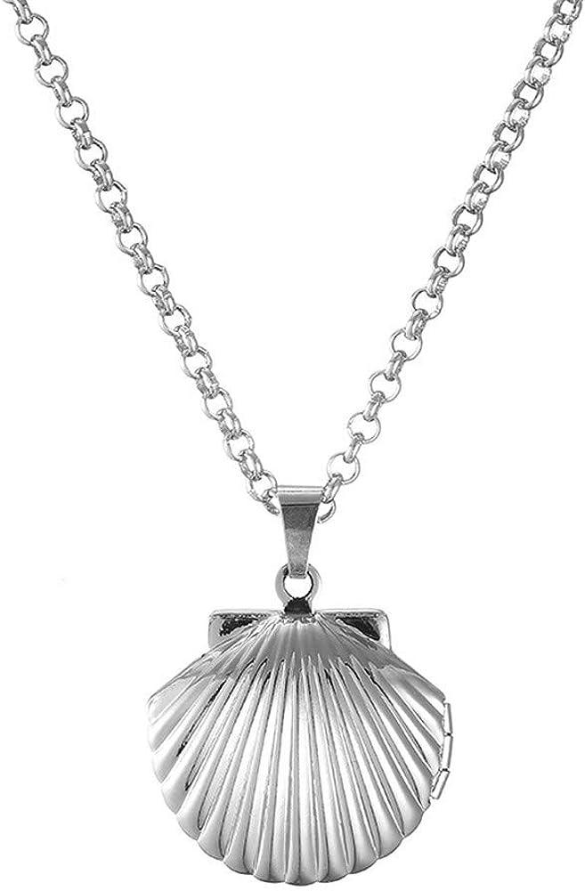 PJ Seashell Locket Charm Necklace Women for Fees free!! Girls Beac Nautical Very popular