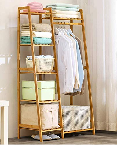 FKDEYICOAT Bamboo Clothing Garment Rack Free Standing 5-Tier Clothing Shoes Storage Organizer Shelves for Home,Retail (Siz. (Size : 80 * 40 * 140cm)