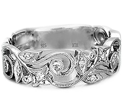BestToHave Ladies 925 Sterling Silver Ladies Unique Wedding Band Engagement Ring Size W