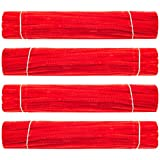 Waycreat 400 Pieces Pipe Cleaners Red Chenille Stem for DIY Art Craft Decorations (6mm x 12 Inch)