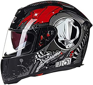 Leoie Full Face Helmet for Men, Flip-up Dual Lenses Antifogging Motorcycle Motorbike Riding Safety Helmet Black Red XL