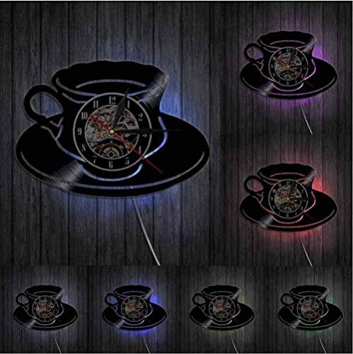 hxjie Reloj de café una Taza de té Reloj de Pared Cocina Oficina decoración de la Pared Disco de Vinilo Arte de la Pared Reloj de Pared Moderno Regalo del Amante del café