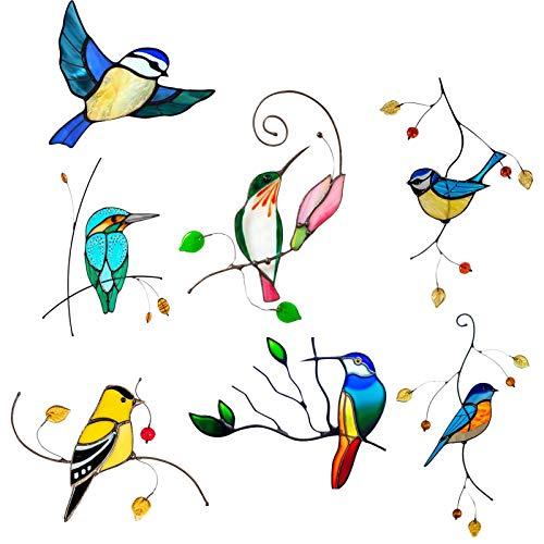 CHENSTAR Buntglasscheiben – 7 Stück Vogelaufkleber Fleckenglas-Fensterbehang Vogel Buntglas Tropische Vögel Dekorative Kunst Glasscheibe zum Aufhängen für Fenster, Auto, Wand, Terrasse, Garten