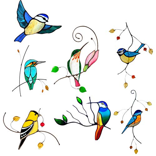 7PCS Glass Window Panel, Stained Glass Window Hangings Panel - Stained Glass Bluebird Window - Hanging Sun Catcher Ornament Bird - Cute 3D Car Decoration, Prevent Bird Strikes On Window Glass, 22X14cm