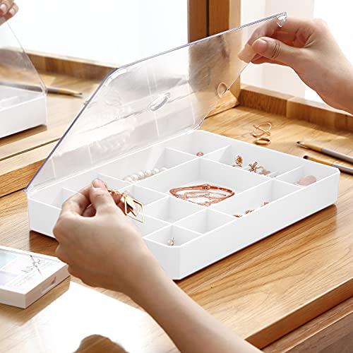 Faffooz Organizador Joyas, Caja de joyería, Blanco con tapa transparente Joyero Organizador Bandeja Joyas Organizador para Pendientes, Brazalete, Pulsera, Collar Anillos 26X18.5X3.5CM