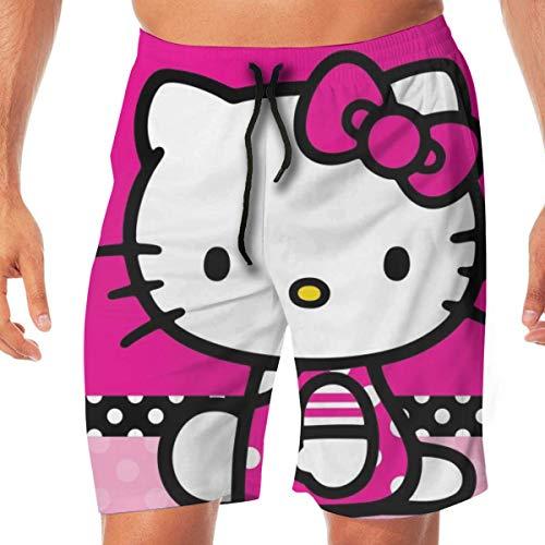 Mens Quick Dry Swim Shorts Hello Kitty Swim Trunks Sports Swimwear Board Shorts Bathing Suits