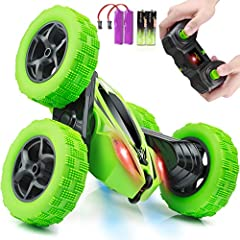 360° ROTATING STUNT: Double sides running, moving forward, backward, turning left, right, 360 degree tumbling flip for different playing experience on this electric remote control stunt car. You can control the rc cars for kids in any direction with ...