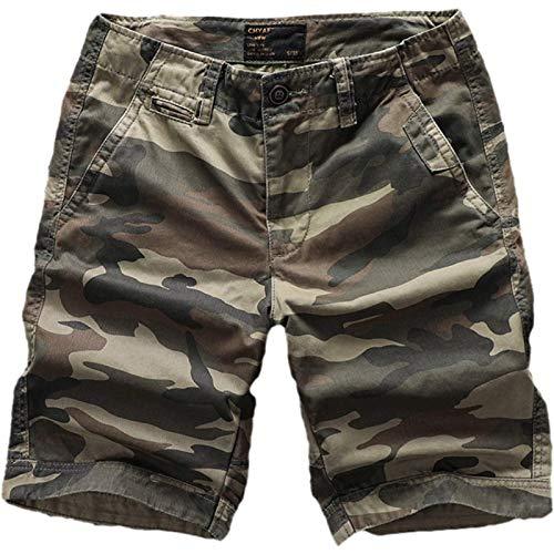 Pantalones Cortos Informales Transpirables de Verano para Hombres Pantalones Cortos de Carga Rectos Sueltos Simples de Moda con múltiples Bolsillos 38