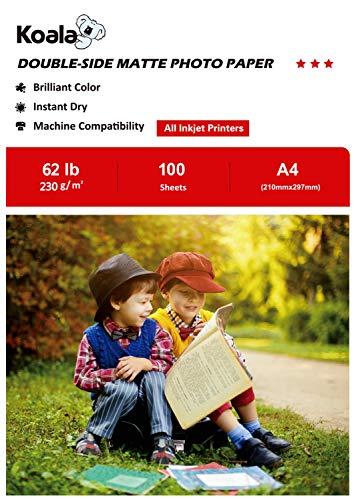 KOALA Papel Fotográfico de Doble cara Mate para Inyección de Tinta A4, 230 g/m², 100 hojas. Adecuado para imprimir Fotos,...