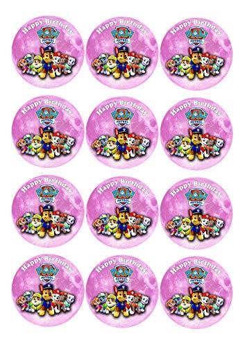 12 Muffinaufleger ca. 6 cm zum selbst ausscheiden, Cupcakes Muffinsbild Geburtstag Paw Patrol Fondant 0212W