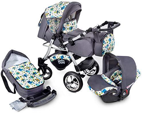 GaGaDumi Urbano Kombikinderwagen Kinderwagen Babyschale 3in 1 System Autositz (U1-Owls)