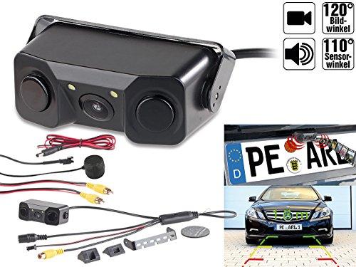 Lescars-Einparkhilfe-Kennzeichen-Rueckfahrhilfe-mit-Abstandswarner-Kamera-109-cm-LCD-Monitor-43-PDC