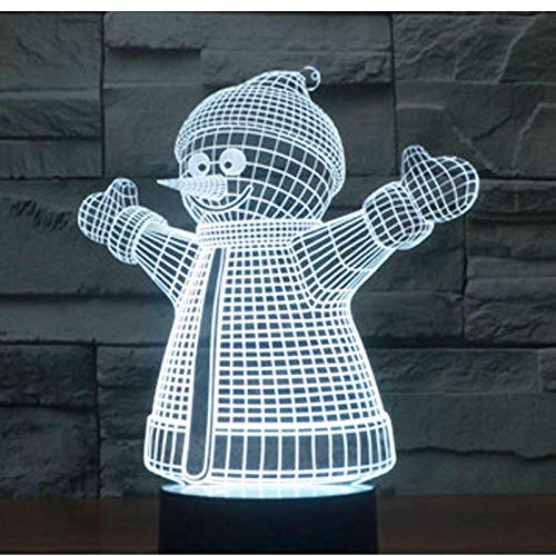 Luz De Noche Led 3D Muñeco De Nieve De Navidad Yeti Con Luz De 7 Colores Para Lámpara De Decoración Del Hogar Visualización Increíble Ilusión Óptica 1pc