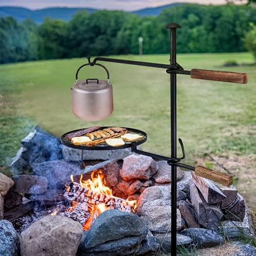 Lagerfeuer Schwenkgrill Grillrost,360° Verstellbarer Grillrost mit Erdspieß Kurbel,Grillgalgen Rost für Feuerschale Camping Picknick Outdoor BBQ