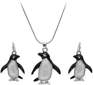PONCTUEL ESCARGOT Cute Penguin Animal Jewelry Set for Women Teens Penguin Animal Hook Earrings Pendant Gift