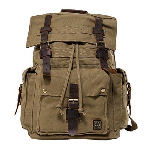 Jonon Vintage lona mochila para hombres mochila de cuero mochila 17 pulgadas portátil cartera mochila escolar ejército militar hombro mochila bolsa de senderismo (Verde)